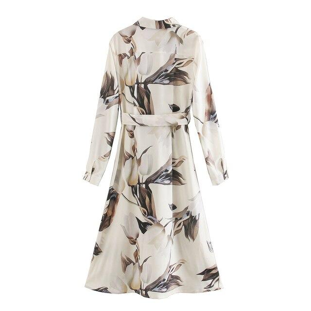Za 2020 nouveau été femmes Mididress avec imprimé fleuri volants à manches longues robe élégante Femme en vrac Mididress Vestido