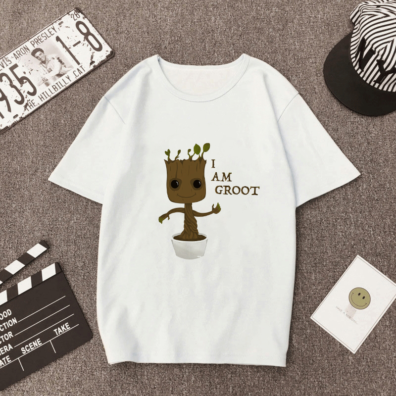 Showtly  I Am Groot T-shirt Men/Women Guardians Of The Galaxy 2 Funny  Superhero Twig Grout Top Novelty Unisex Casual T Shirt