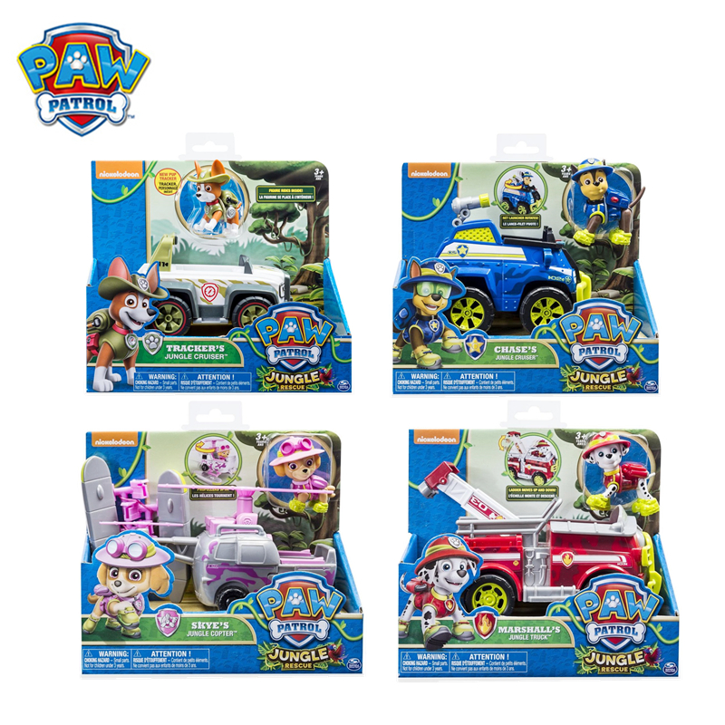 Original Box Paw Patrol Jungle Tracker Chase Marshall Skye Rescue Vehicle Toy Set Action Figure Model Spin Master Toy Kid Gift