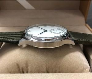 Image 4 - Nowe mody 44mm nie logo emalia biała tarcza azjatyckich 6498 17 klejnotów ruch męska mechaniczne zegarki GR47 20