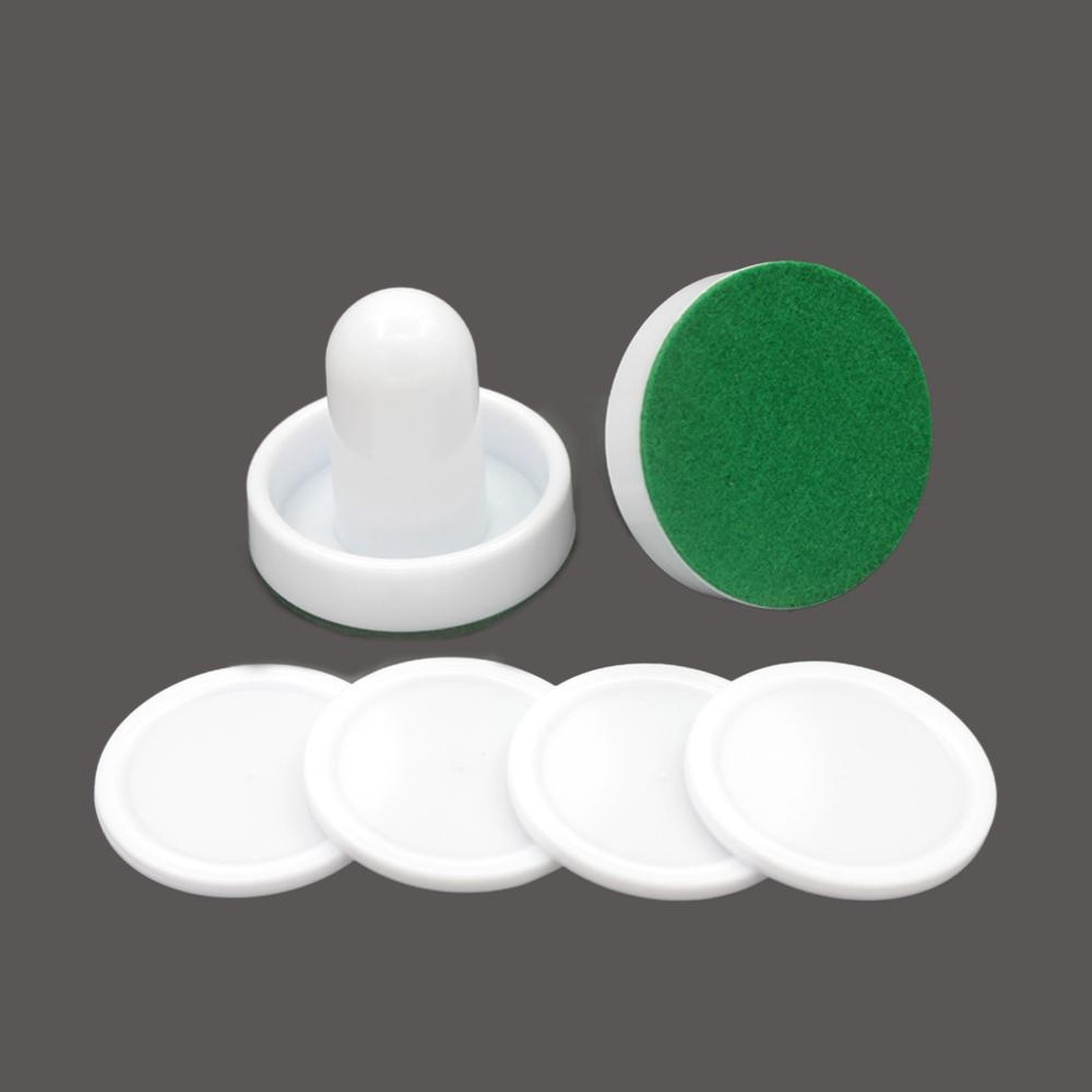 White Air Hockey Accessories 50mm Goalies & 60mm Puck Felt Pusher Mallet Adult Table Games Entertaining Toys