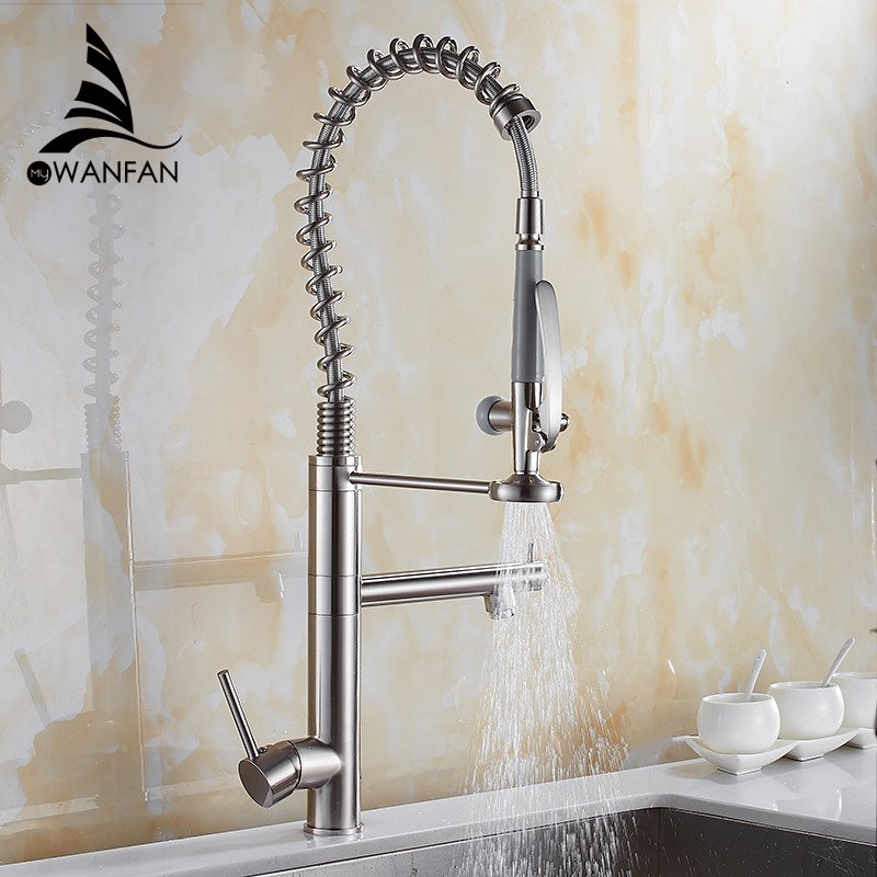 Kitchen Faucet Chrome Brass Tall Kitchen Faucet Mixer Sink Faucet Pull Out Spray Single Handle Swivel Spout Mixer Taps MH-4829