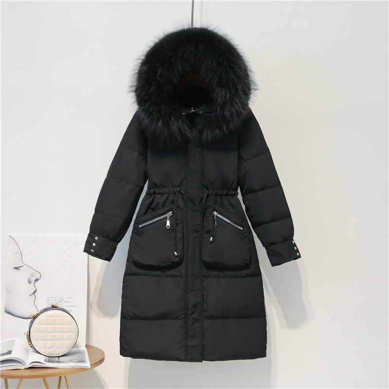 Winter Jacket Women Long Down Coat Female Large Raccoon Fur Hood Clothes 2019 Thick Warm Duck Down Jackets Outwear LW1629