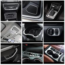 Estilo do carro console central mudança de engrenagem quadro capa guarnição para audi q3 2013-2018 porta de áudio alto-falante quadro decoração