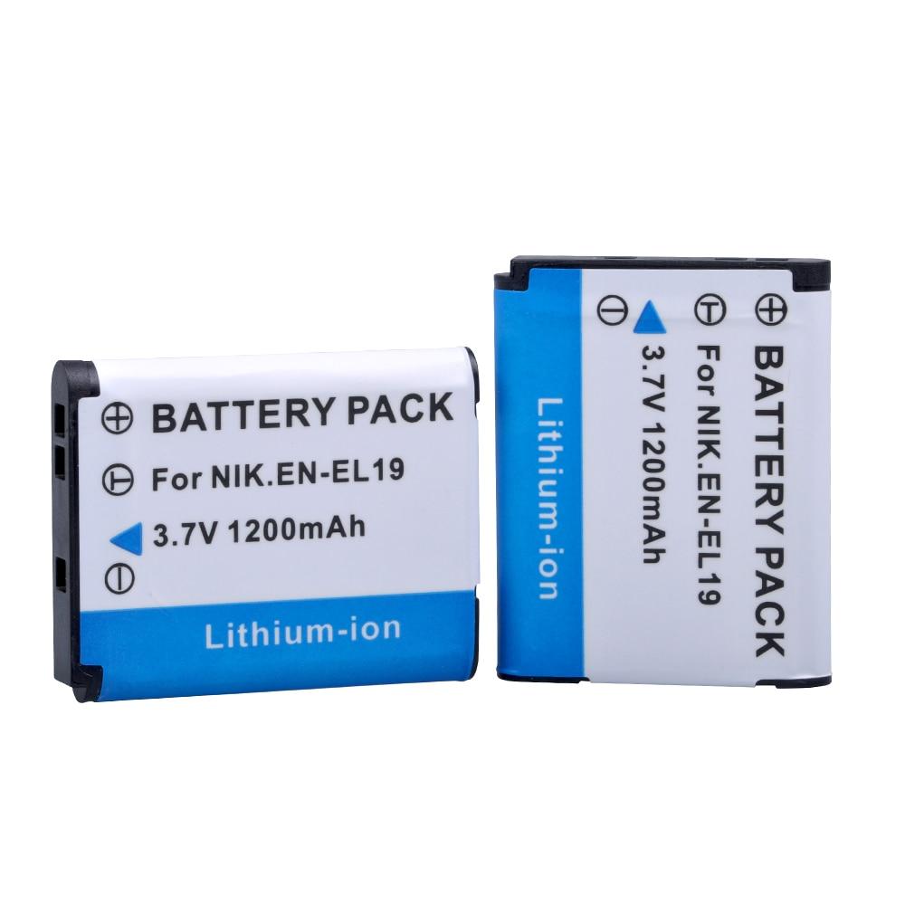 PowerTrust 3.7V 1200mAh EN-EL19 EN EL19 EL19 Battery For Nikon Coolpix W150 S32 S100 S2800 S3200 S3300 S3500 S3600 S4100 S4200