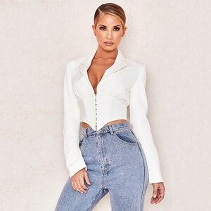 Image 2 - 2020 New Ladies Blazer Long Sleeve Blaser Women Suit Bodycon Jacket Female Outwear Deep V Neck White Sexy Club Blazer Coat