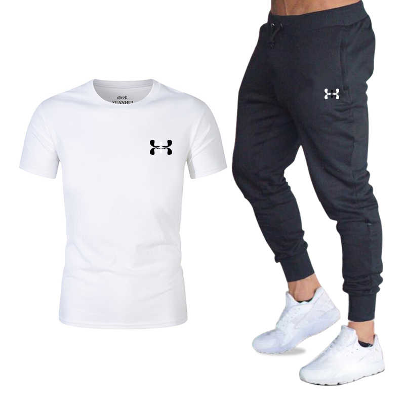 Hot Mannen Sets T-shirts + Broek Twee Stukken Sets Casual Trainingspak Basketbal Nieuwe Mode Print Suits Sportwear Fitness shirts
