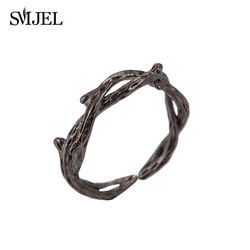 New Vintage Black Crown of Thorns Charms Ring Adjustable  Thorn Twig Branch Pendants Open Rings for Women Valentine's Day Gifts