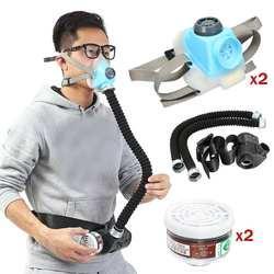 2 Pcs Respiratore-System-Dispositivo di Gas Elettrico Costante Flusso di Aria in Dotazione Alimentato Respiratore Mezza Viso Gas Maschera Pompa 2 Tubo Respiratore