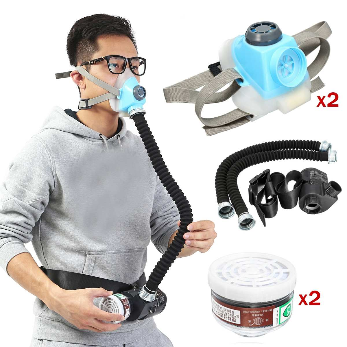 2pcs Respirator-System-Device Gas Electric Constant Flow Air Supplied Fed Respirator Half Face Gas Mask Pump 2 Pipe Respirator