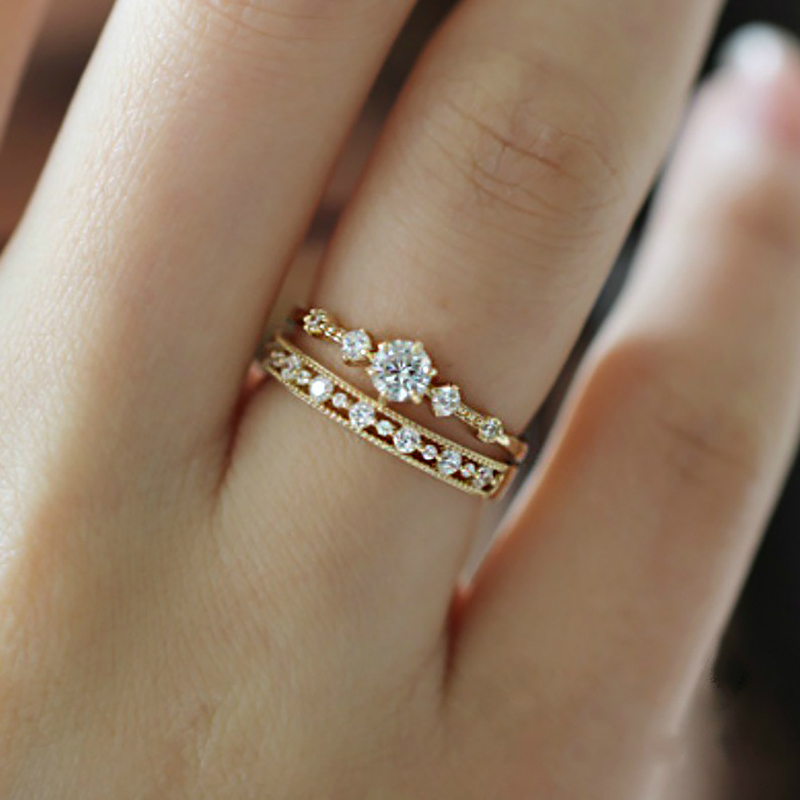 Daily Midi Rings For Women Simple Hollow Out Cubic Zirconia Light Yellow Gold Silver Color Gifts Fashion Jewelry KCR110