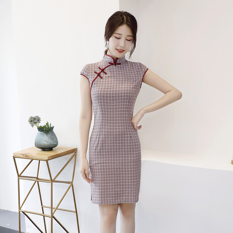 Cross Border Chinese-style Chinese Costume 2019 Summer New Style Cotton Linen Plaid Cheongsam Vintage-Style Literature And Art D