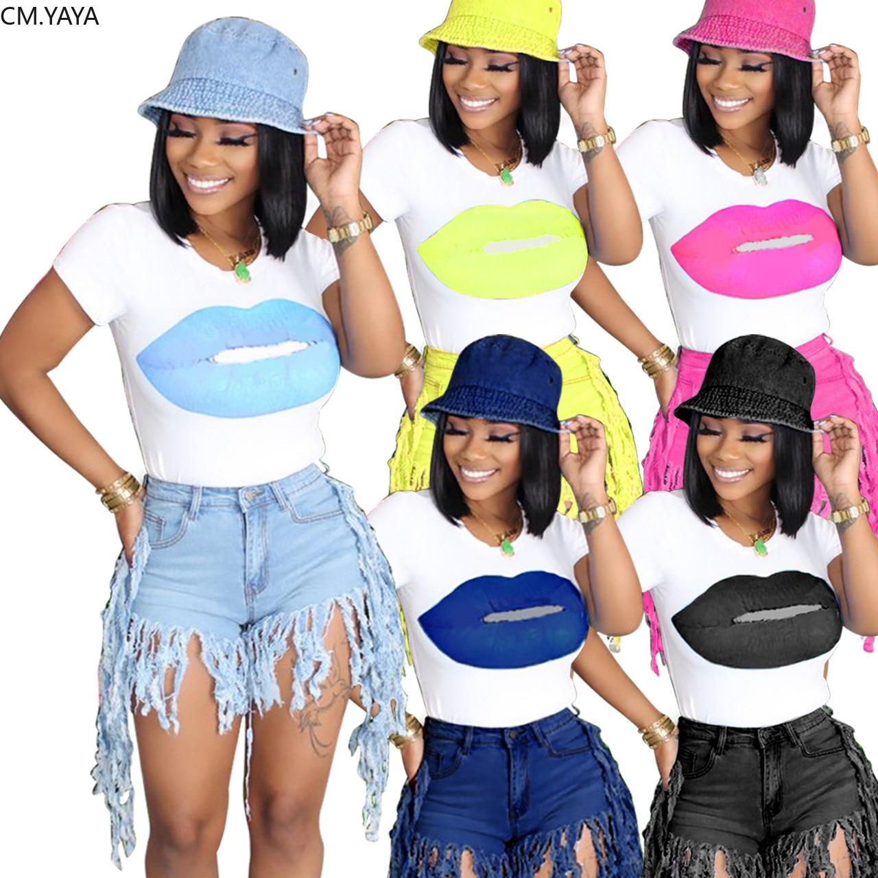 CM.YAYA-Camiseta de labios para mujer, pantalones cortos vaqueros con cremallera, conjunto de dos piezas, chándal de moda a juego, Verano