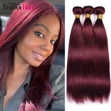 Mode dame pré-colorée brésilienne droite paquets de cheveux humains paquets rouge foncé 99j paquets 3/4 paquet par paquet non-remy
