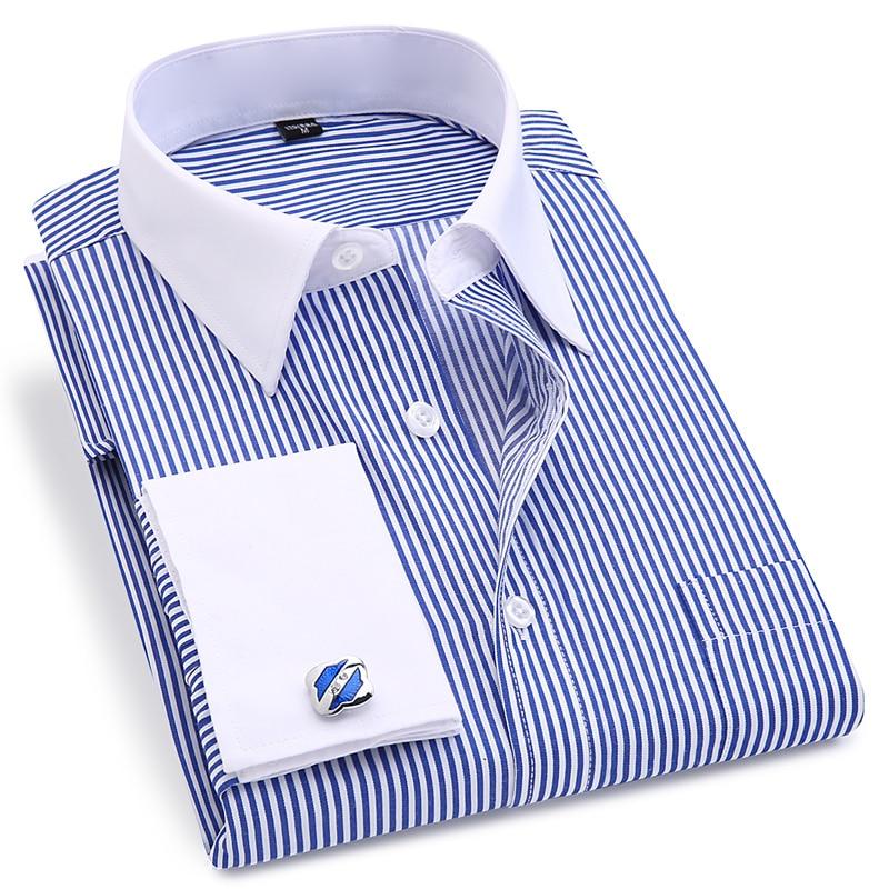 French Cuff Men's Dress Long Sleeve Shirt High Quality Regular Fit Male Social Wedding Party Cufflinks Shirt Plus Size 5XL 6XL