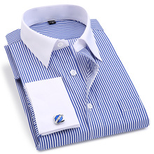 French Cuff Mens Dress Long Sleeve Shirt High Quality Regular Fit Male