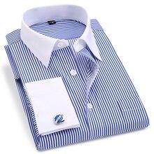 French Cuff Men's Dress Long Sleeve Shirt High Quality Regular Fit Male Social W
