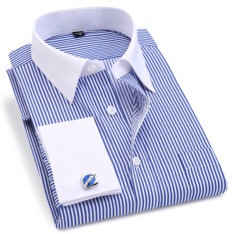 French Cuff <font><b>Men's</b></font> Dress Long Sleeve <font><b>Shirt</b></font> High Quality Regular Fit Male Social Wedding Party Cufflinks <font><b>Shirt</b></font> Plus Size 5XL <font><b>6XL</b></font> image