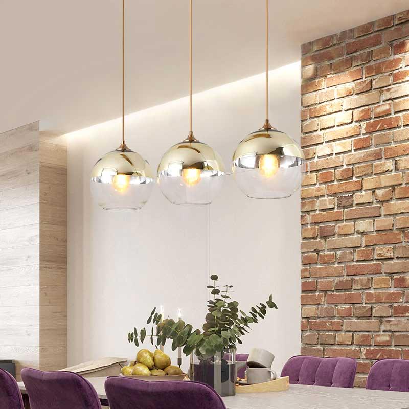 Nordique pendentif luminaires Vintage lampe à main or verre Design lampe Lustre salle à manger cuisine Loft décor éclairage à la maison