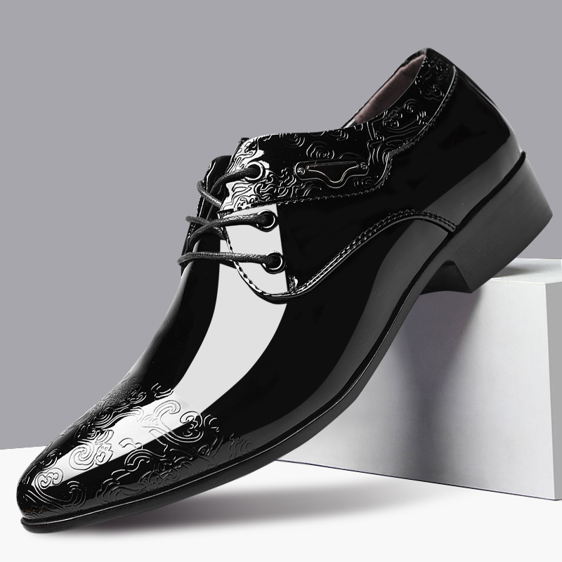 Free Shipping Black Formal Patent Leather Shoes For Men Fashion Printed Men's Dress Shoes Man Pointed Toe Wedding Shoes