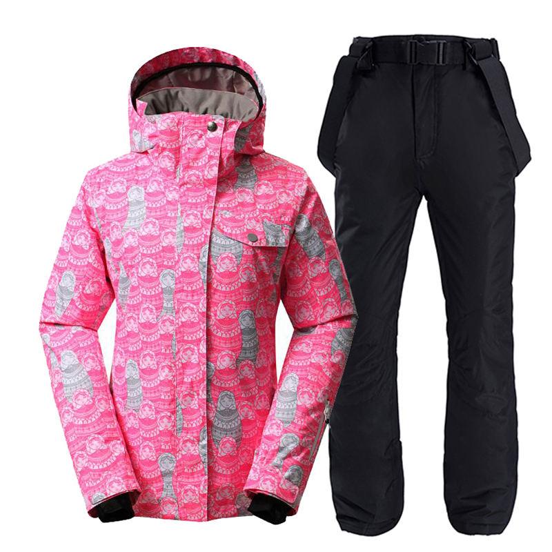 Mode rouge neige vêtements femmes Ski costume ensemble imperméable coupe-vent respirant snowboard costumes veste extérieure et pantalon de neige