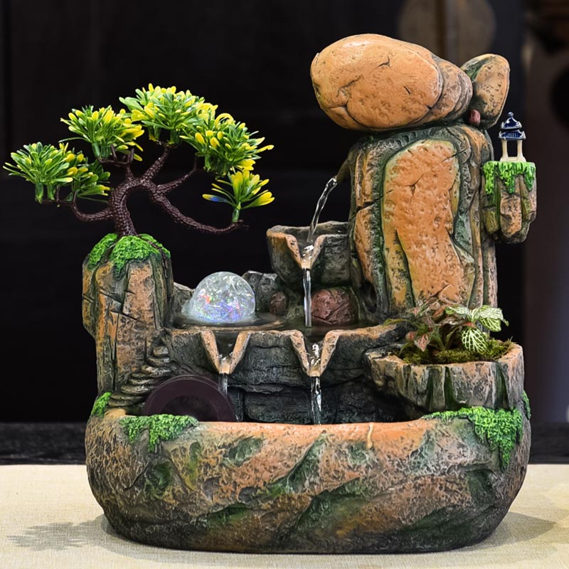 220v Indoor Water Fountain Handmade Resin Rockery Micro Landscape Tabletop Fountains Waterfall Feng Shui Home Decoration Crafts Figurines Miniatures Aliexpress