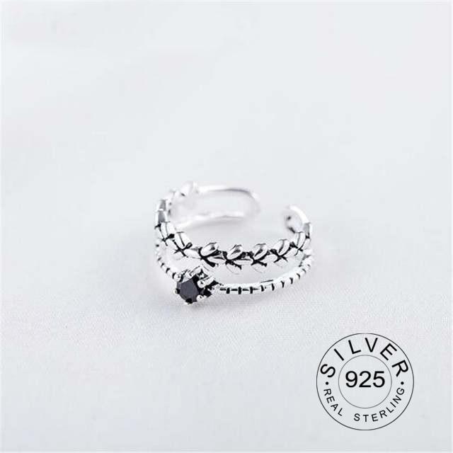 New 925 Sterling Silver Creative Obsidian Leaf Ring Korea Simple Fashion Dynamic High Quality Ring