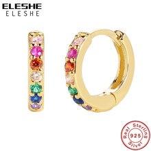 Eleshe 925 prata esterlina huggie hoop brincos para mulher com 18k banhado a ouro zircônia cúbica arco-íris brincos de jóias de instrução