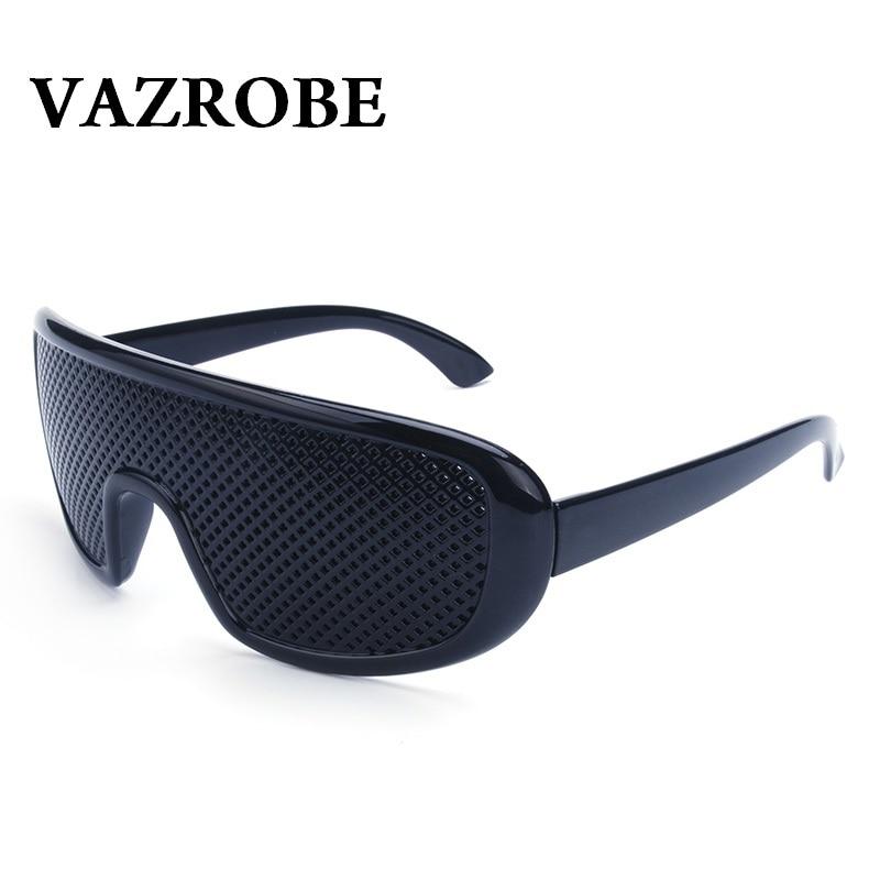 Vazrobe Pinhole Glasses 2 Pcs/lot Black Anti Fatigue Case Free Hallow Sunglasses Small Hole Anti Myopia Eyewear High Quality