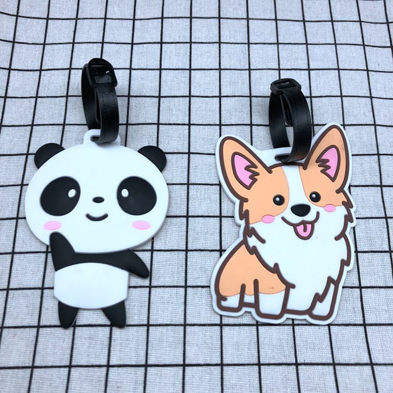 Cartoon Animal Panda Luggage Tags Portable Address Holder Silica Gel Travel Accessories Suitcase ID Baggage Boarding Label