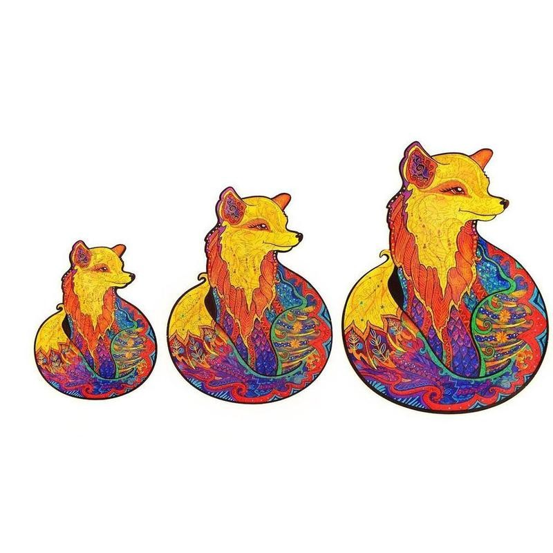 Wooden Jigsaw Puzzle Fox Puzzle Board Set Toy Interesting Wooden Puzzles For Adults Kids Christmas Gifts