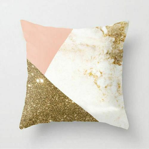 Boho Geometric Cushion Cover White and Pink Home Sofa Pillowcase 45cm x 45cm