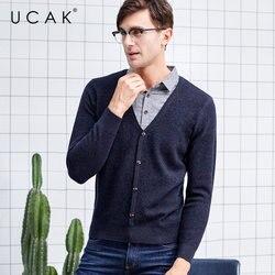UCAK Brand Merino Wollen Trui Mannen Herfst Winter Dikke Warme Cashmere Twinset Mannen Streetwear Fashion Casual Pullover Mannen U3051