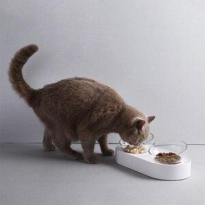 Image 4 - شاومي PETKIT وعاء تغذية الحيوانات الأليفة أطباق قابلة للتعديل مزدوجة المغذية الأطباق كوب ماء القط الأطباق شرب السلطانية البلاستيك/الفولاذ المقاوم للصدأ