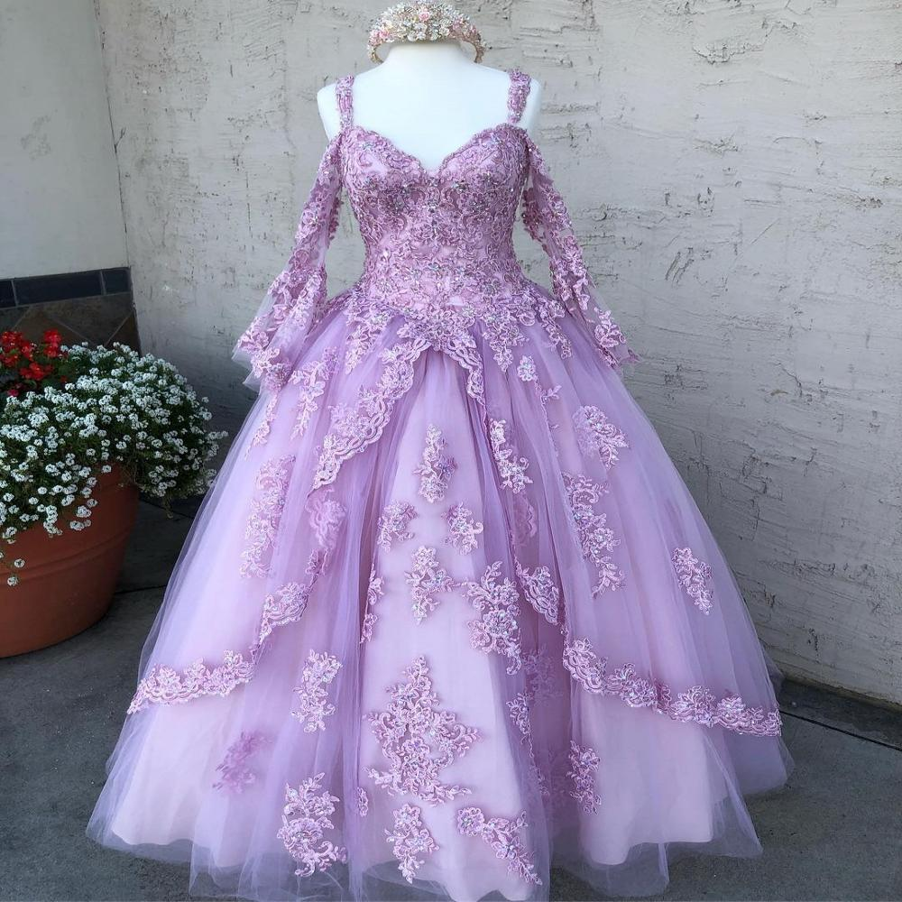 Lilac Tulle Vestidos De 15 Años 2019 Long Sleeves Puffy Lace Appliques Quinceanera Dress Straps Sweet 15 Dress Long Prom Gowns