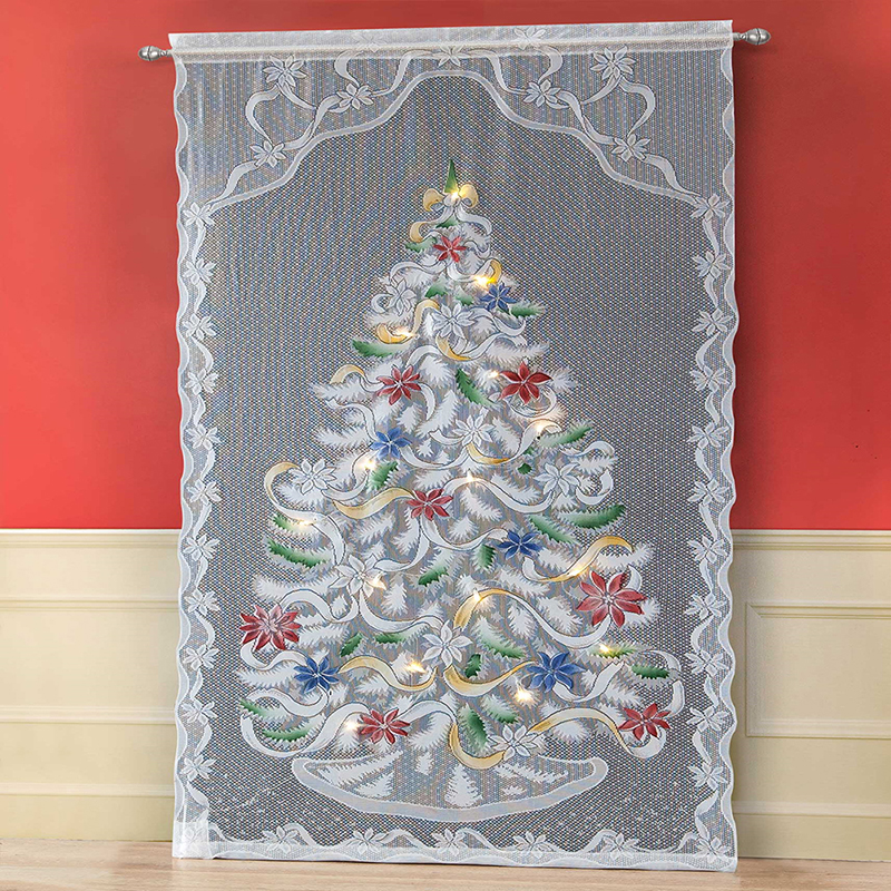 Delicate Christmas Tree Pattern Flash String Lace Window Living Room Curtain With LED Light Valance Home Decoration