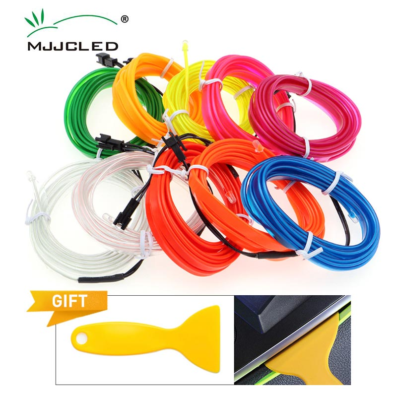1-5M Flexible EL Wire Neon Light Dance Party Decor Light 6mm Sewing Edge LED Waterproof  EL Wire Lamps  With DC12V Driver