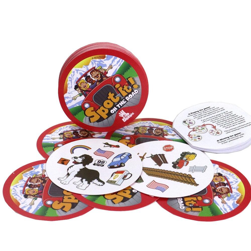 Local no jogo de cartas estrada 70mm dobble educação jogo para crianças presentes apreciá-lo família festa jogos de tabuleiro