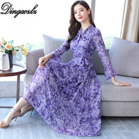 Dingaozlz Autumn 2019 New Casual Women Dresses Female Maxi Chiffon dress Bow Tie Long Sleeve Printed dress Plus size Vestidos