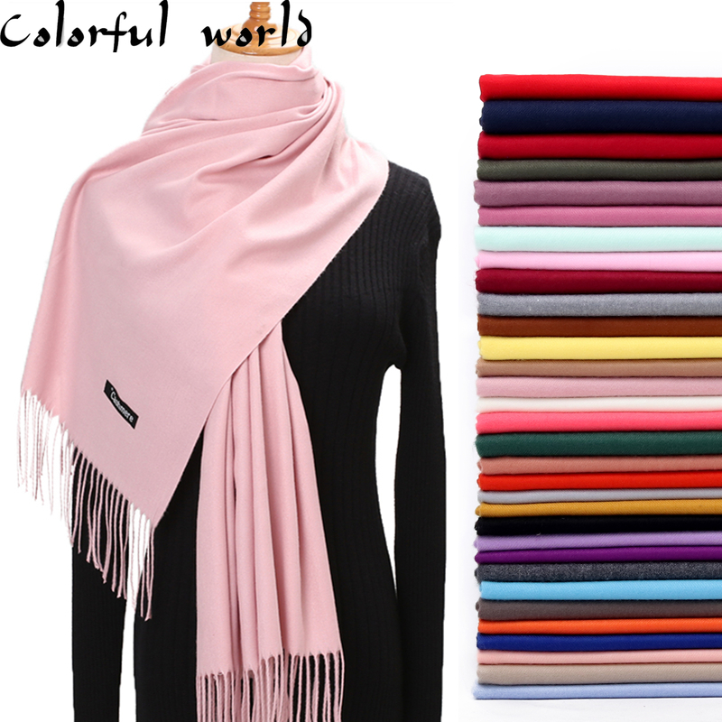 Women Solid Color Imitation Cashmere Scarves With Tassel Winter Autumn Long Scarf High Quality Female Shawl Hot Sale Men Scarf