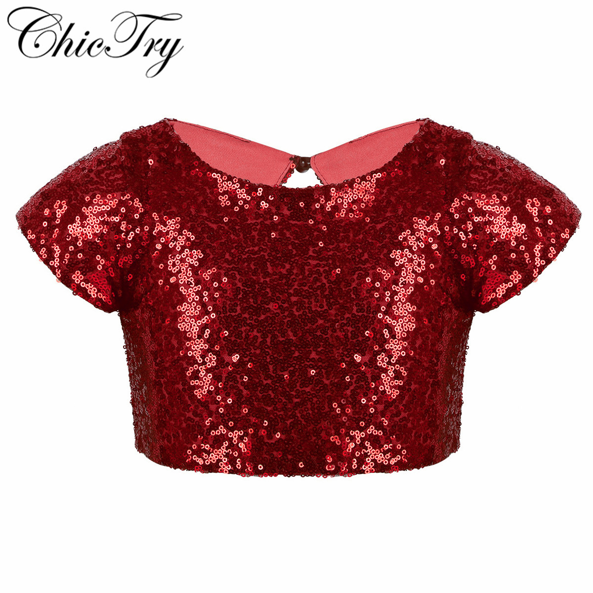 Girls Ballet Dance Tank Tops Cap Sleeves Sparkly Sequins Keyhole Back Crop Top For Dance Stage Performance Party Daily Wear