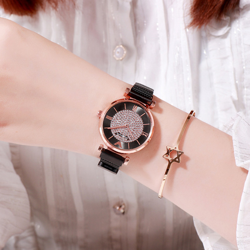 Woman Watch 2018 Luxury Crystal Watch Rings Starry Sky Magnetic Watch Quartz Watches for Girls montre femme zegarek damski xfcs in Women 39 s Watches from Watches