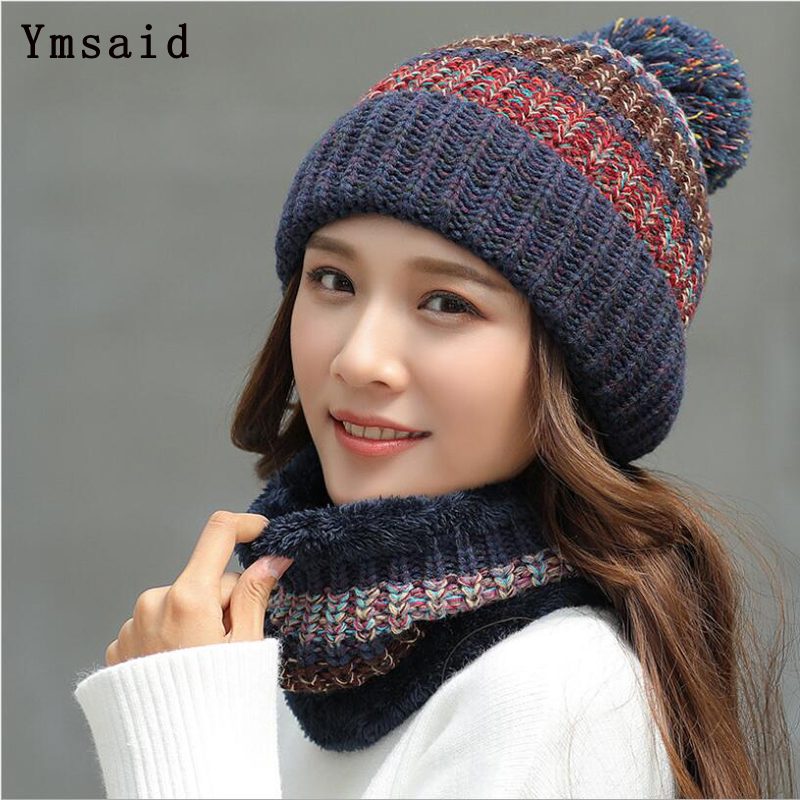 Ymsaid 2018 Fashion Winter Hat Thick Women's Hat Warm PomPoms Hats For Female Girl Knitted Beanies Female Cap Neck Warmer 11.11