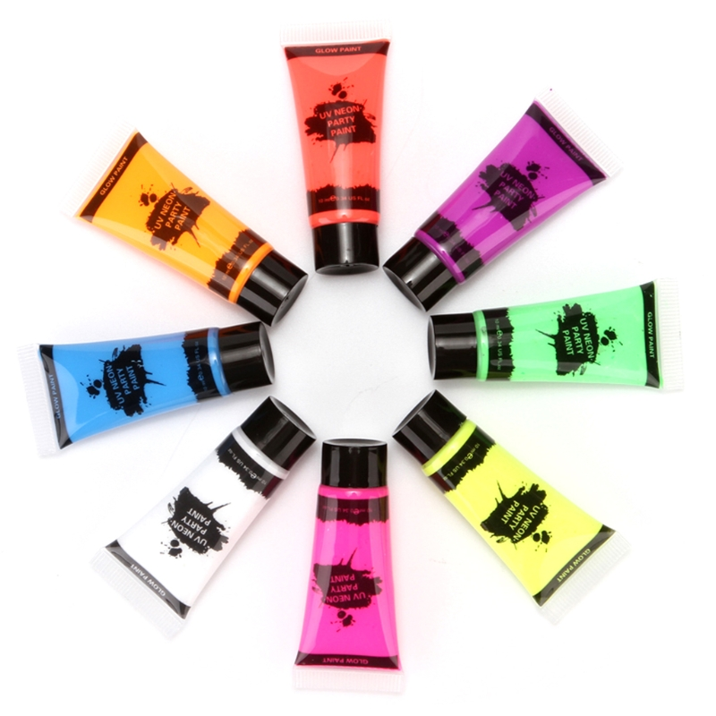 8 Colors Fluorescent Face Body Paint Painting Pigment Makeup Tool Tattoo Drawing 77HA