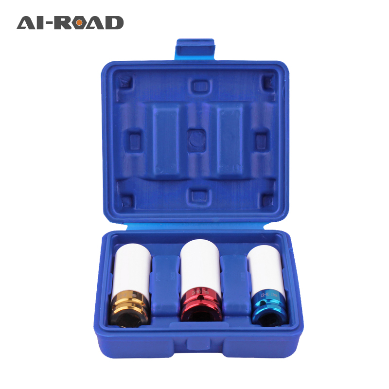 3PCS 17/19/21mm Pneumatic Tyre Protection Sleeve 1/2 Colorful Steam Sleeve Auto Repair Hardware Tool + Case