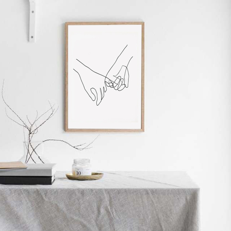 Pinky Swear Continuous One Lines Drawing Canvas Print Wall Decor