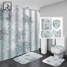Snowflake Snowman Printed Shower Curtain Set Non-slip Bathroom Mat 4 PCS Bathing Sets Toilet Cover Rug Flannel Carpet Christmas