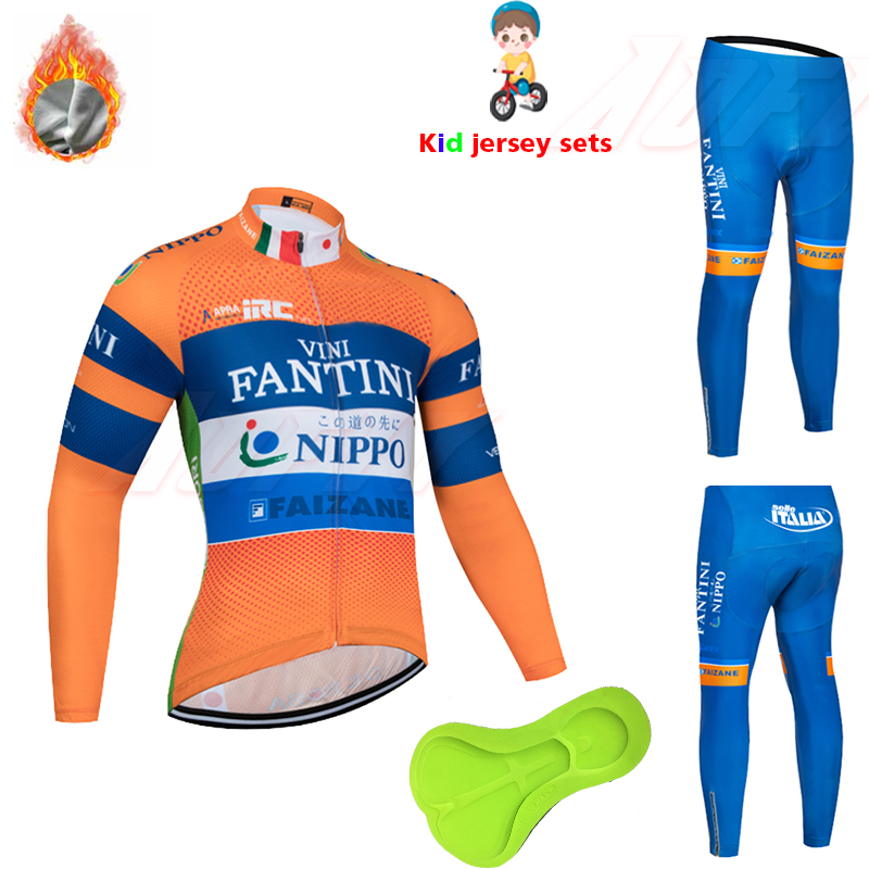 new pro team FANTINI Orange blue children's cycling long sets kids clothes bicycle for kids sets equipment bike cycling clothing image