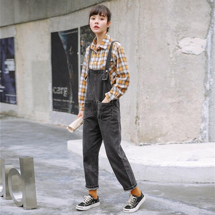 2019 Autumn New Style Korean-style College Style Dark Gray Washing Jeans Suspender Pants Women's
