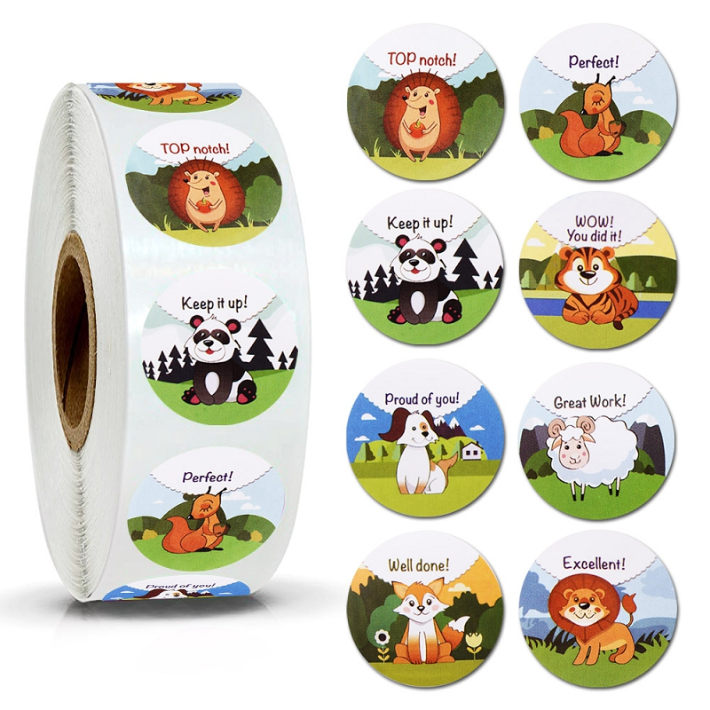 500pcs/roll Animal Reward Stickers Rolls for Kids and Teacher Motivational Teachers Sticker for Clas